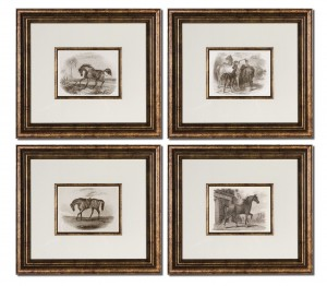 Uttermost 33590 Horses Framed Art Set/4
