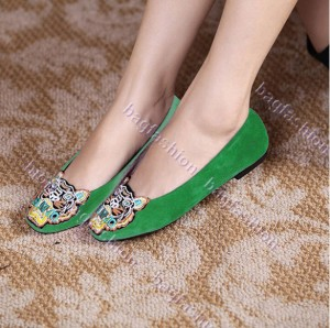 Bag Fashion - 15829 Casual Fashion Women Tiger Head Acumination Flattie Ballet Shoes