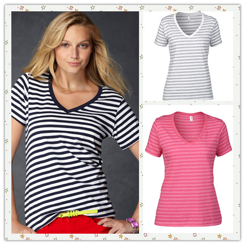 nyfifth-anvil-8823-ladies-striped-v-neck-t-shirt