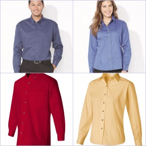 Ladies Long Sleeve Stain Resistant Tapered Twill Shirt from NYFifth