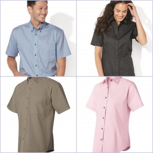 Ladies Short Sleeve Stain Resistant Twill Shirt from NYFifth