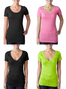 Next Level Burnout Deep V Ladies Scoop Neck Tee from NYFifth