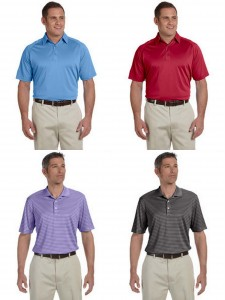 Ashworth Mens Performance Wicking Pique Performance Interlock Strip Polo from NYFifth