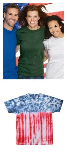 Colortone Adult Usa Flag Tie Dye Tee Bayside Short Sleeve T-Shirt from NYFifth