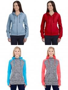 J America Womens Colorblcok Csomic Fleece Hooded Sweatshirt Bella Womens Full Zip Hooded Sweathirt from NYFifth