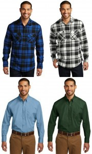 Port Authority Plaid Flannel Shirt Mens Long Sleeve Carefree Poplin Shirt from NYFifth