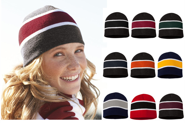 Sportsman Cap SP06 Striped Knit Beanie from NYFifth