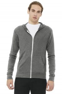 Bella Canvas 3939 Unisex Triblend Full Zip Lightweight Hoodie from NYFifth
