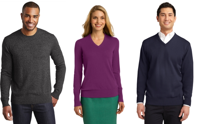 Port Authority Crew or V Neck Sweaters from NYFifth