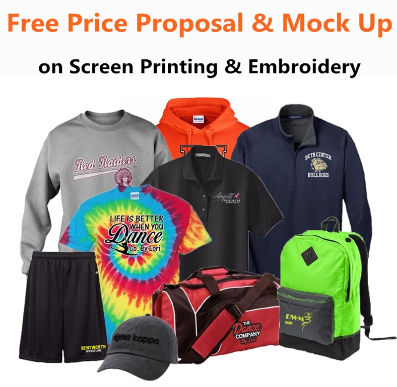 Free Price Proposal and Mock Up on Screen Printing and Embroidery from NYFifth