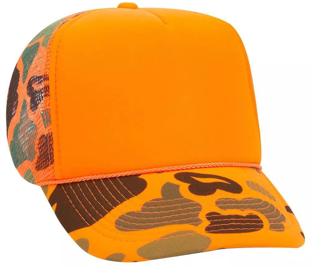 OTTO Neon Camouflage 5 Panel High Crown Mesh Back Trucker Hat from NYFifth
