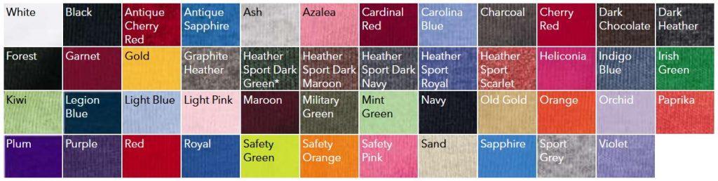 Gildan 18000 Color Chart NYFifth