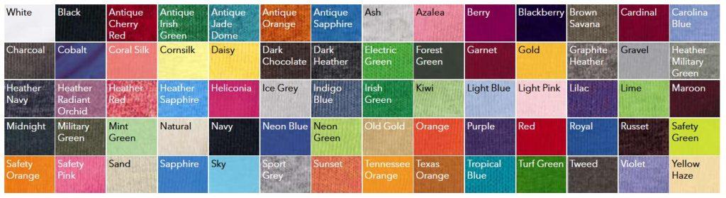 Gildan 5000 Color Chart NYFifth