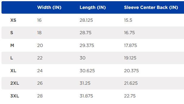 Gildan 67000 Size Chart
