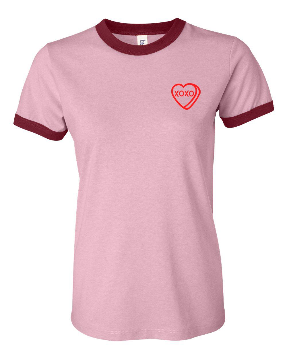 custom design of bella 6050 Ladies' Short Sleeve Heather Ringer T-Shirt
