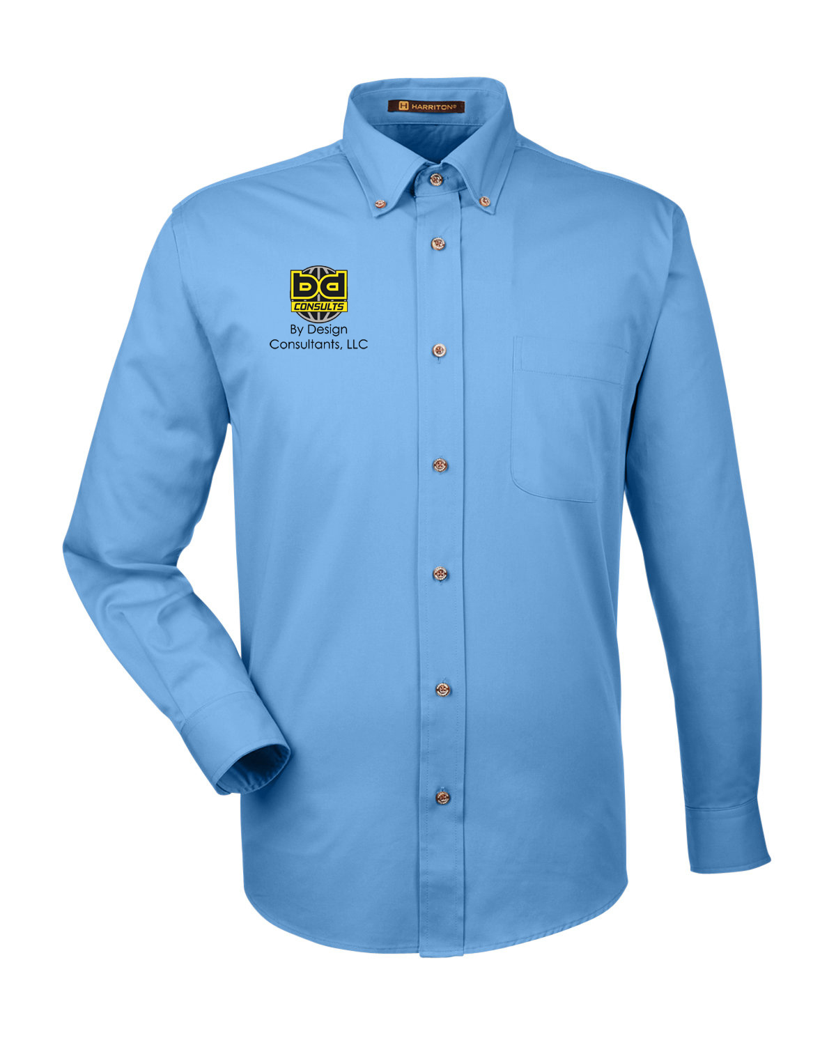 custom design of Harriton M500  Men's Twill Shirt with Stain Release