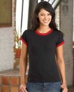 Bella 1007  Women's Baby Rib Ringer T-Shirt