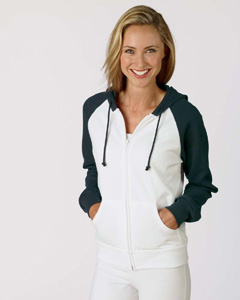 Bella B7010  Women's Two-Tone Full-Zip Hooded Sweatshirt