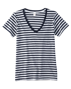 Anvil 8823 Ladies' Striped V-Neck T-Shirt