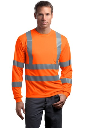 CornerStone® CS409 ANSI 107 Class 3 Long Sleeve Snag-Resistant Reflective T-Shirt
