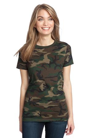 District Made™ DM104CL Ladies Perfect Weight Camo Crew Tee