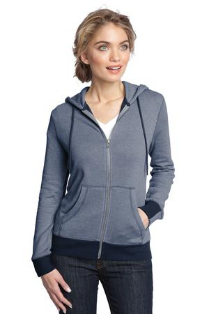District Made™ DM490 Ladies Mini Stripe Full-Zip Hoodie