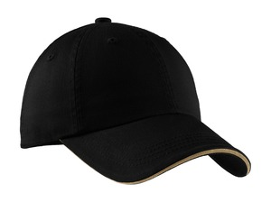 Port Authority® C830 Sandwich Bill Cap with Striped ...