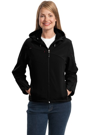 Port Authority® L706 Ladies Textured Hooded Soft Shell Jacket