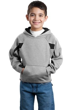 Sport-Tek® Y266 Youth Color-Spliced Pullover Hooded Sweatshirt