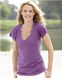 J. America 8169-Ladies Vanity V-Neck Slub T-Shirt