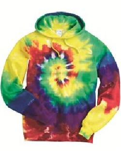Tie-Dyed 854MS-Multi-Color Spiral Pullover Hooded Sweatshirt
