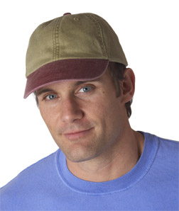 Adams LP102-Cotton Pigment-Dyed Unconstructed Two-Tone Khaki Optimum Cap