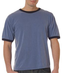 Chouinard 6066-成年人黑色撞色滚边纯色T恤