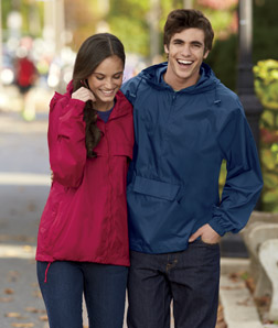 UltraClub 8925-Adult 1/4-Zip Hooded Pullover Pack-Away ...