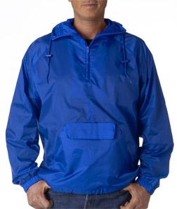 UltraClub 8925-Adult 1/4-Zip Hooded Pullover Pack-Away Jacket