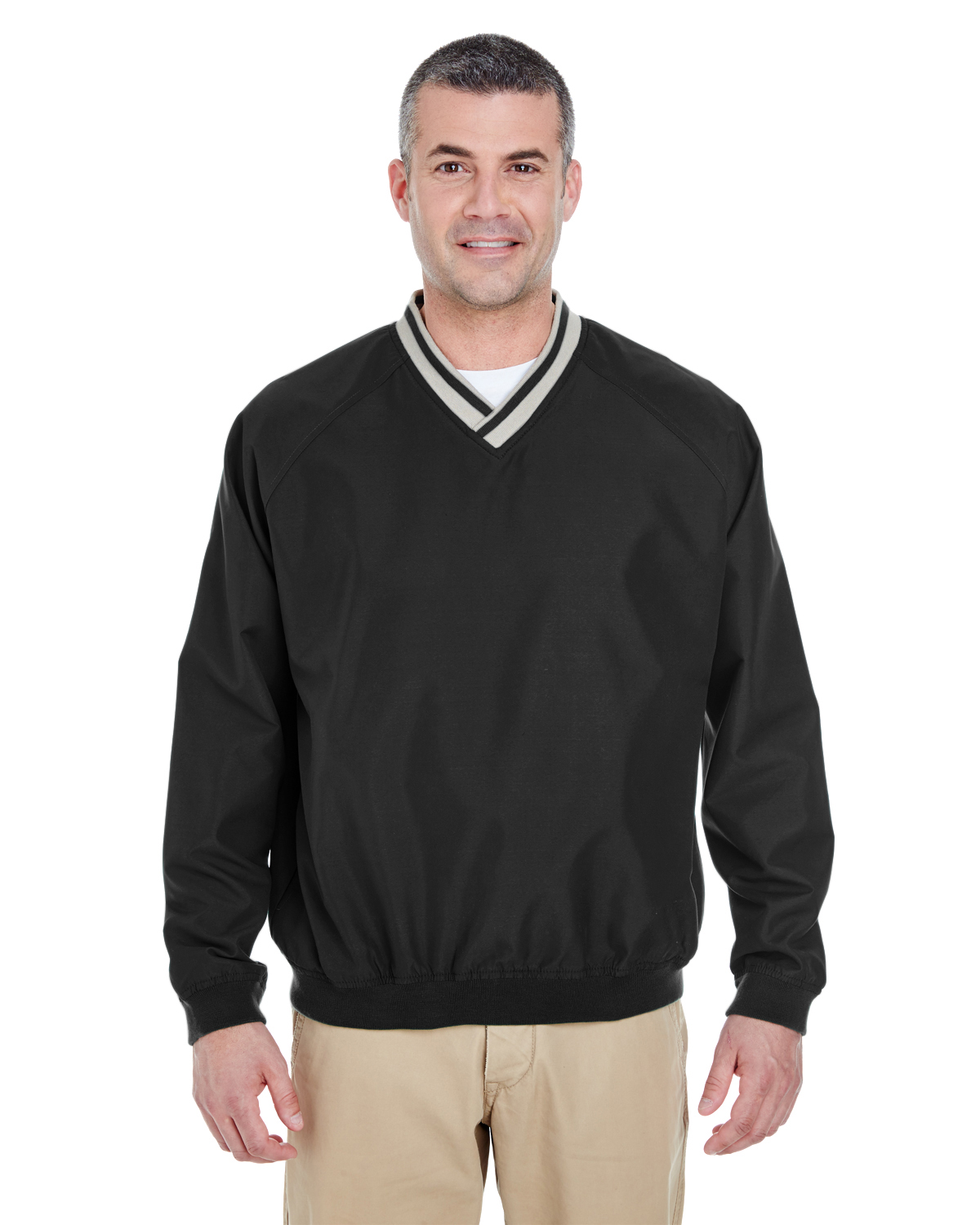 UltraClub 8926-Adult Long-Sleeve Microfiber Cross-Over V-Neck Windshirt