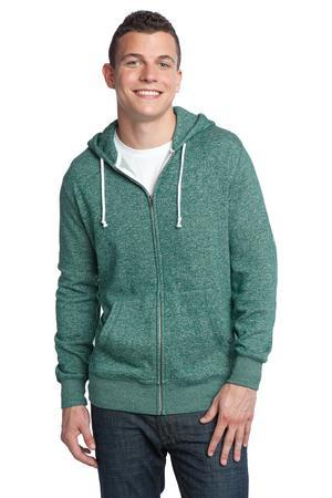 District® DT192 Young Mens Marled Fleece Full-Zip ...