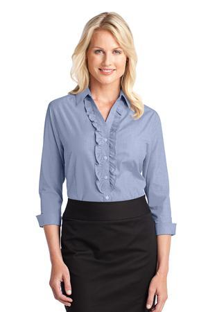 Port Authority® L644 Ladies Crosshatch Ruffle Easy ...
