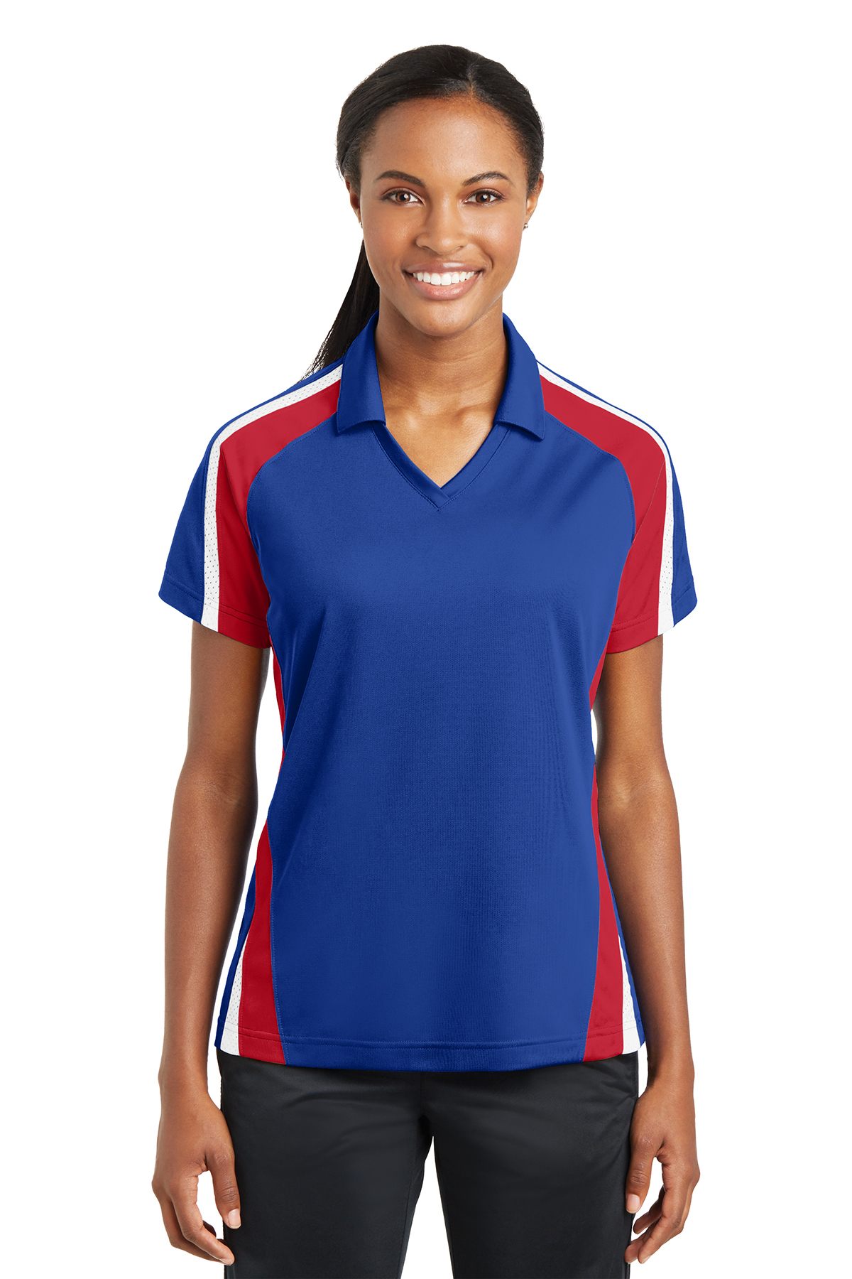 Sport-Tek® LST654 Ladies Tricolor Micropique Sport-...