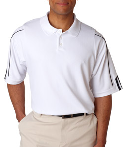 ADIDAS A76 - Men's ClimaLite 3-Stripes Cuff Pique Polo