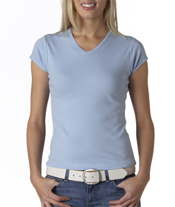 Canvas 1005 - Ladies' Baby Rib Short-Sleeve V-Neck Tee