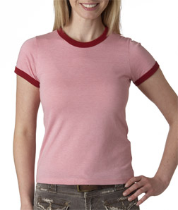 Canvas 6050 女士杂色平纹布 短袖撞色滚边纯色T恤