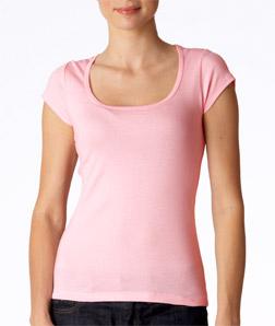 Canvas 8703 女士轻薄罗纹短袖大圆领T恤