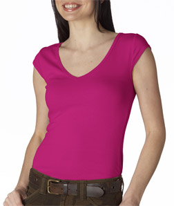 Canvas 8705 - Ladies' Sheer Mini-Rib Cap-Sleeve Deep ...