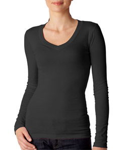 Canvas 8750 - Sheer Mini-Rib Long-Sleeve V-Neck