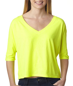 Canvas 8825 - Ladies' Flowy V-Neck Half-Sleeve Cropped ...