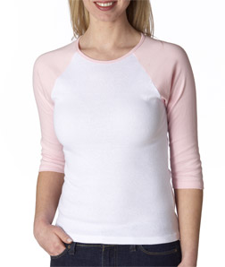 Canvas B2000 - Ladies' Baby-Rib 3/4-Sleeve Contrast ...