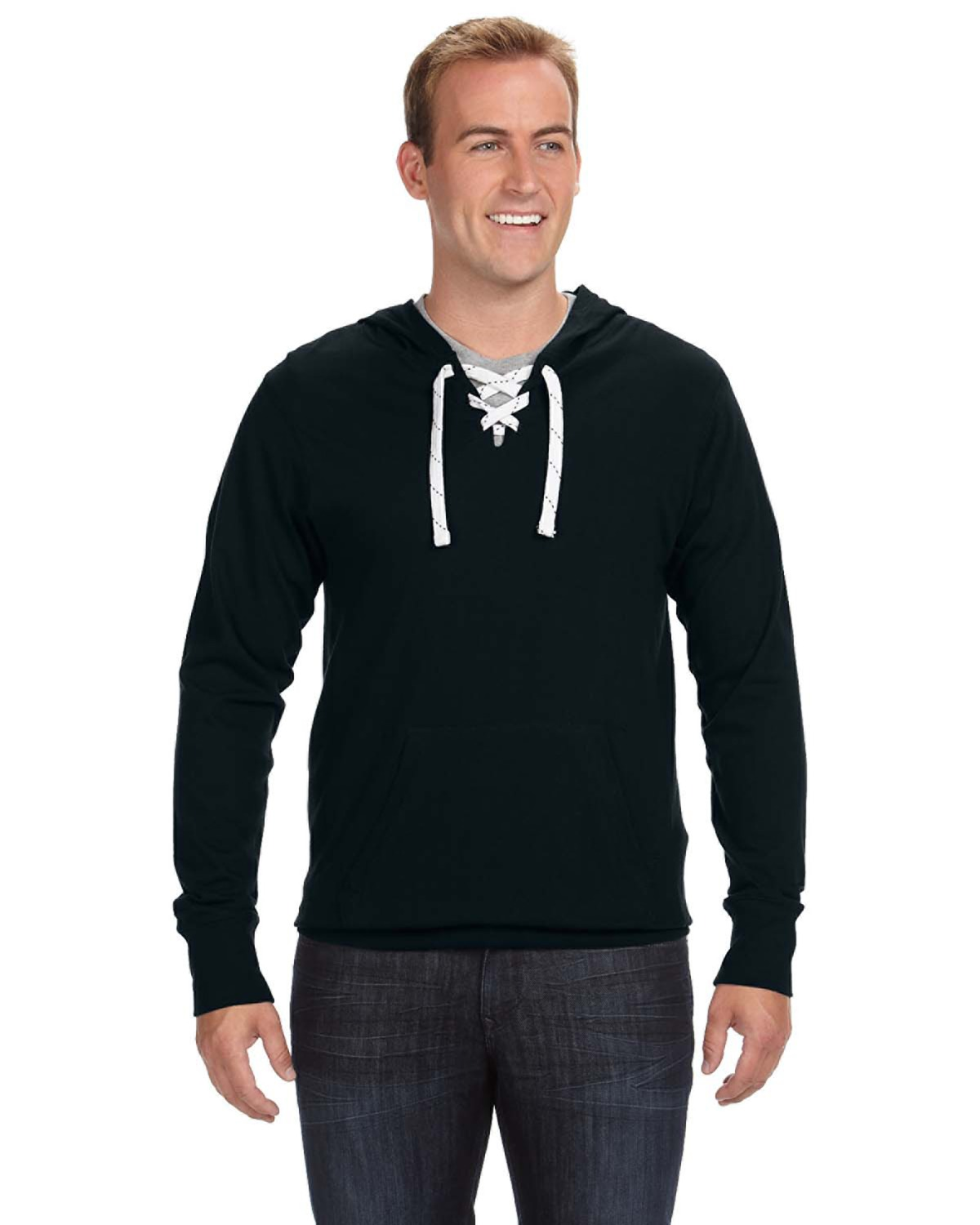 J-America J8231 - Adult Sport Lace Jersey Hooded Tee