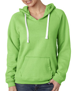 J-America J8836 - Ladies' Brushed V-Neck Hooded Fleece