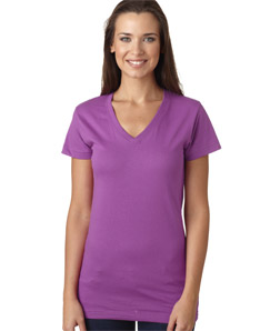 LAT L3607 - Juniors' Fine Jersey V-Neck Longer Length T-Shirt